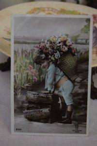 1900年初頭 フランスアンティーク 花かごの男の子 ポストカード